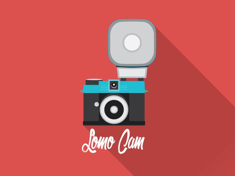lomo CAM flat Icon long shadow