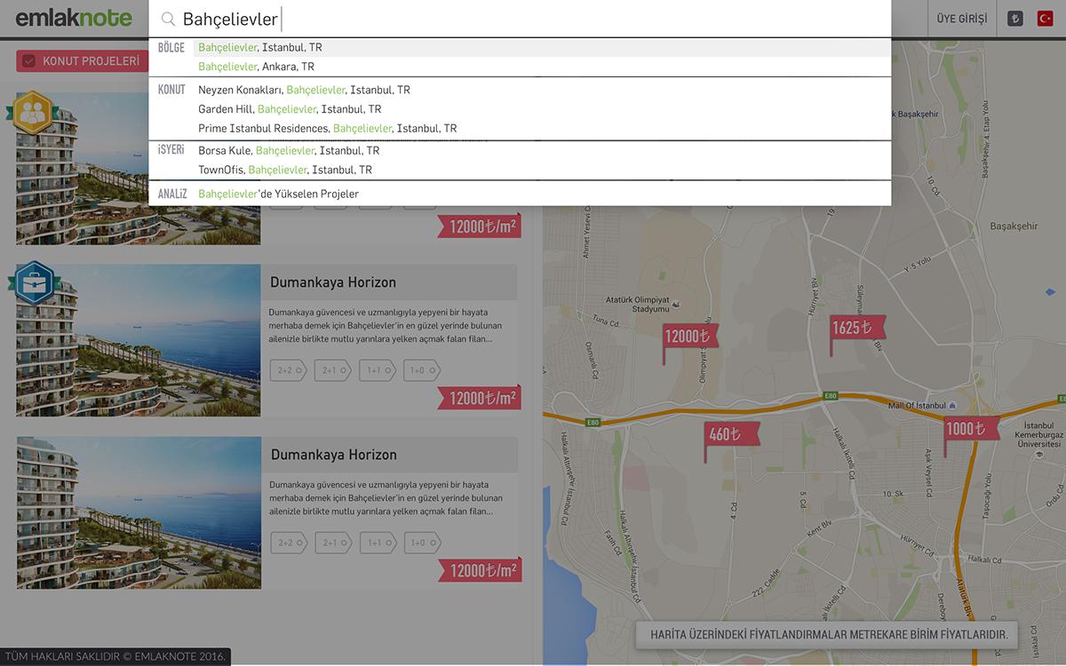 emlak real estate Web Design  user menu