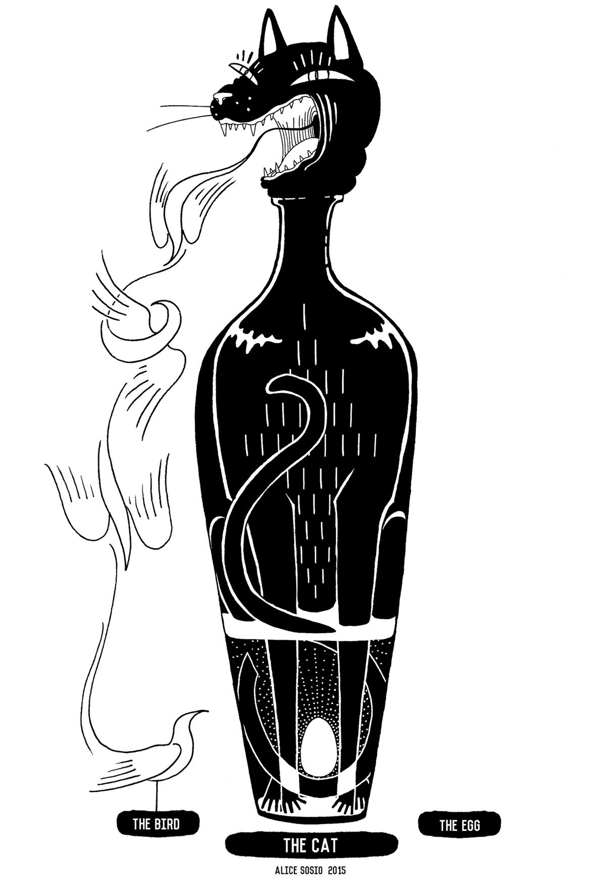 animal bottle black White Turtle hare Cat