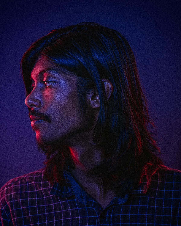 portrait musician colored lights