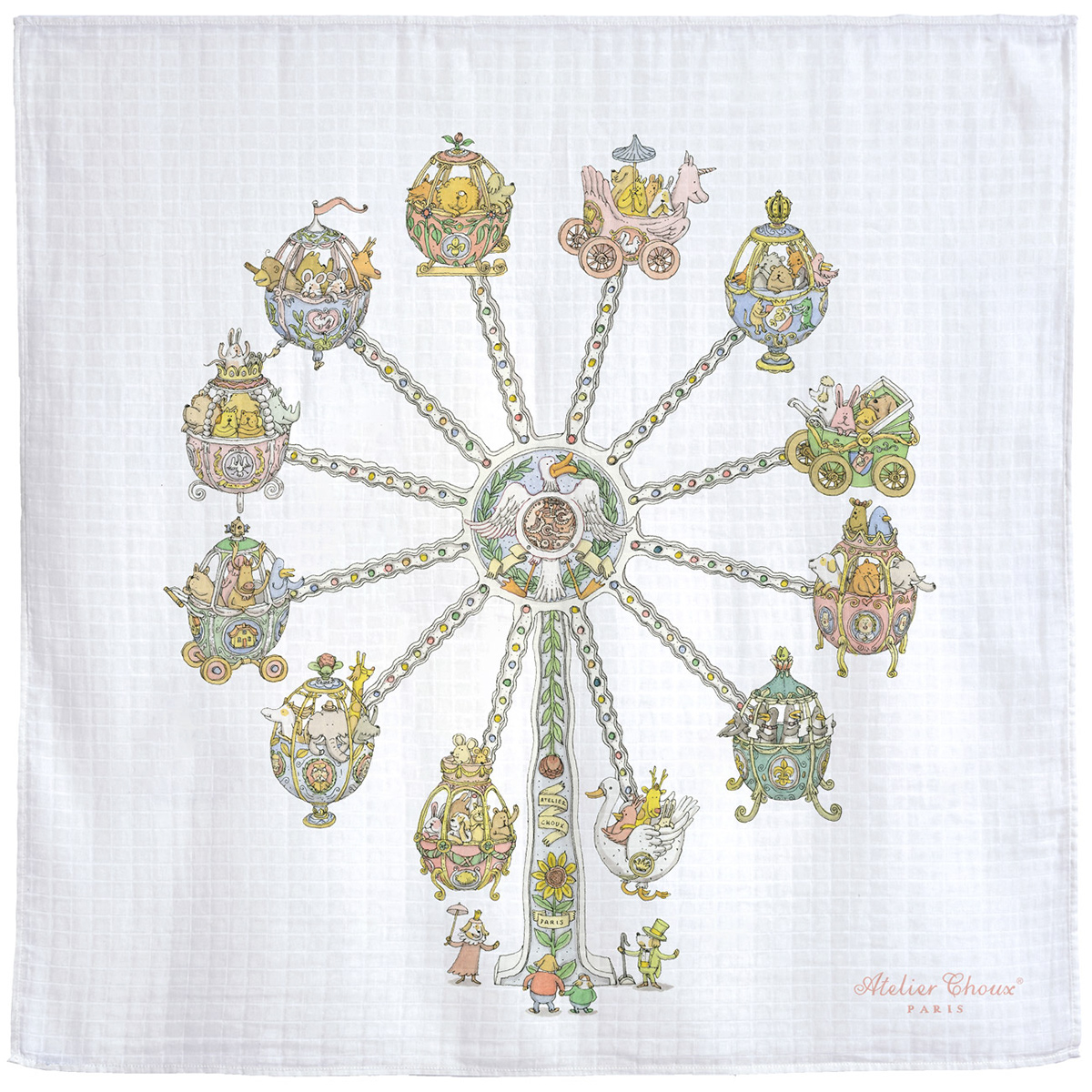 baby baby blanket carré cloth draqwing pattern Watercolours