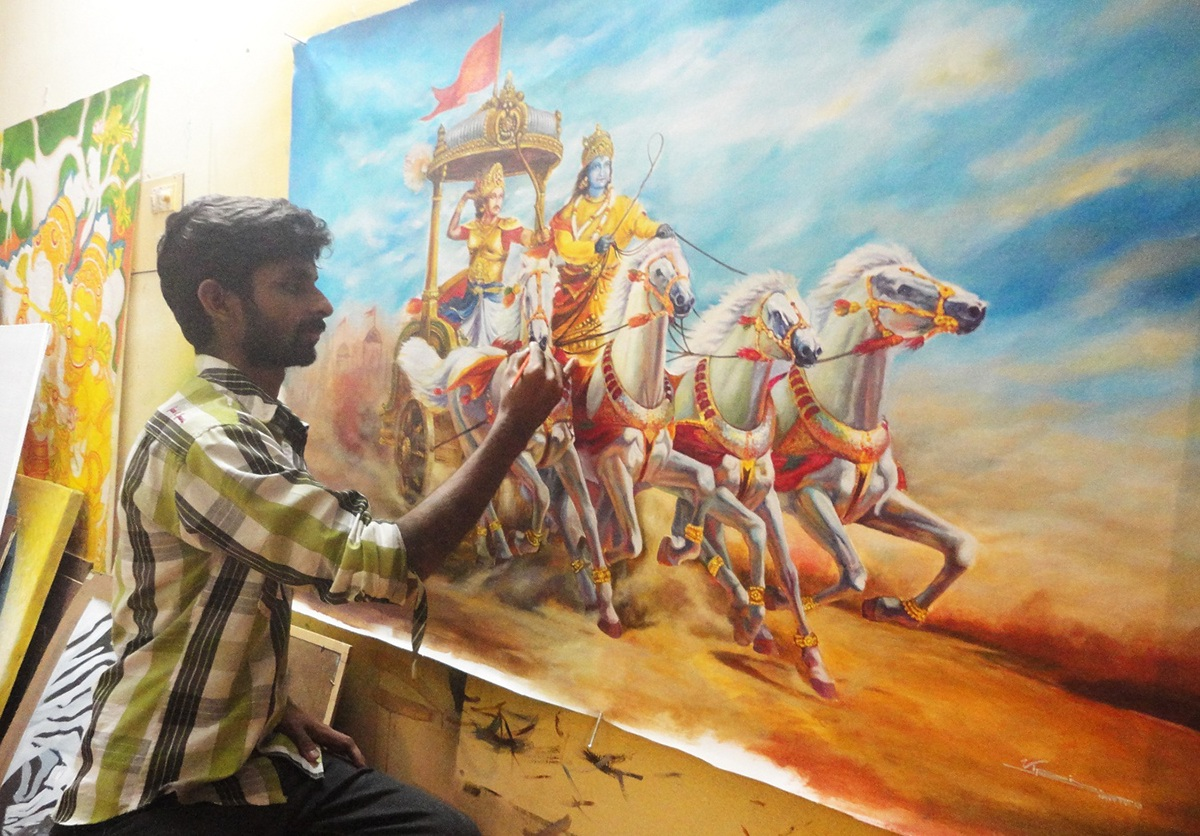 Mural and oil paintings by vipin iritty on behance for Acrylic mural painting techniques