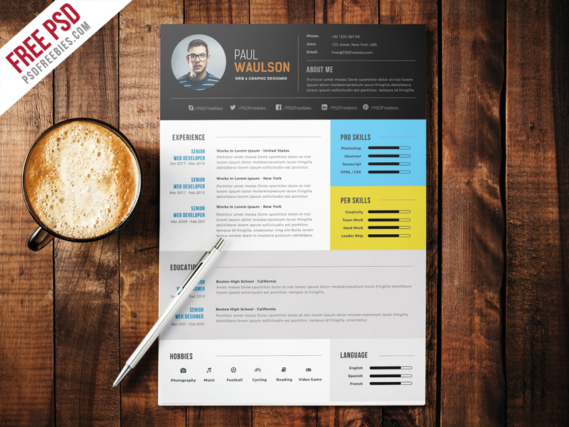 freebie   elegant modern cv resume free psd on behance