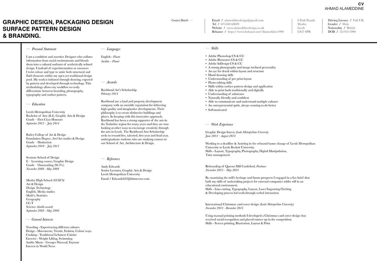 2014 - CV/Portfolio on Behance