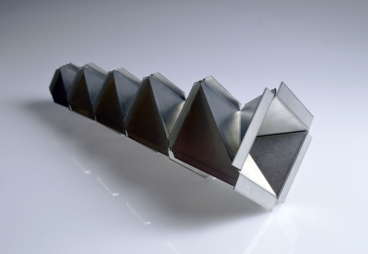 abstract geometric spatial Dynamic Metal 1  sheet metal tin plated steel sculpture polygon polygonal geometry cold connection welding Structural kinetic