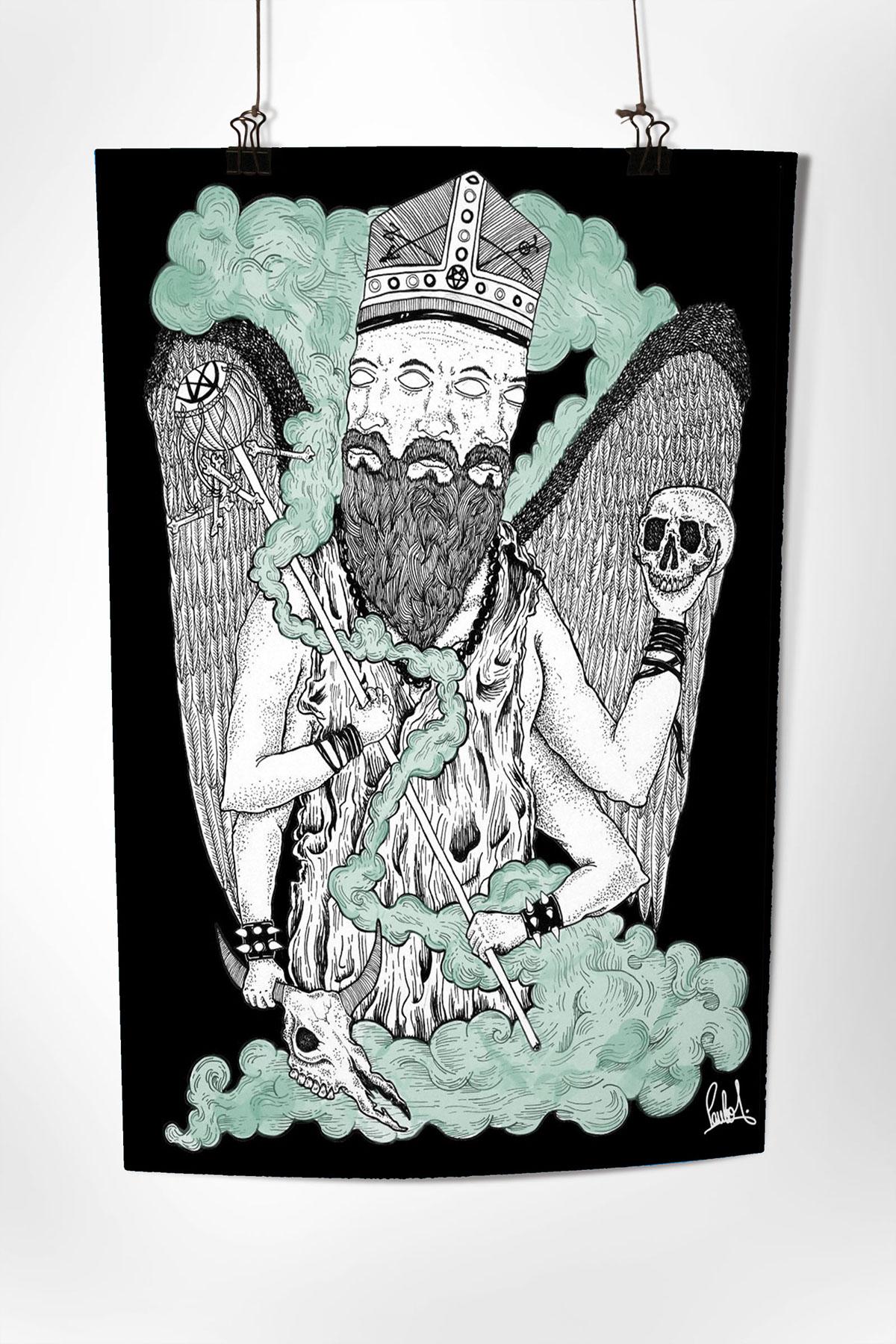 witchcraft dotwork blackmagic transcedental Black&white