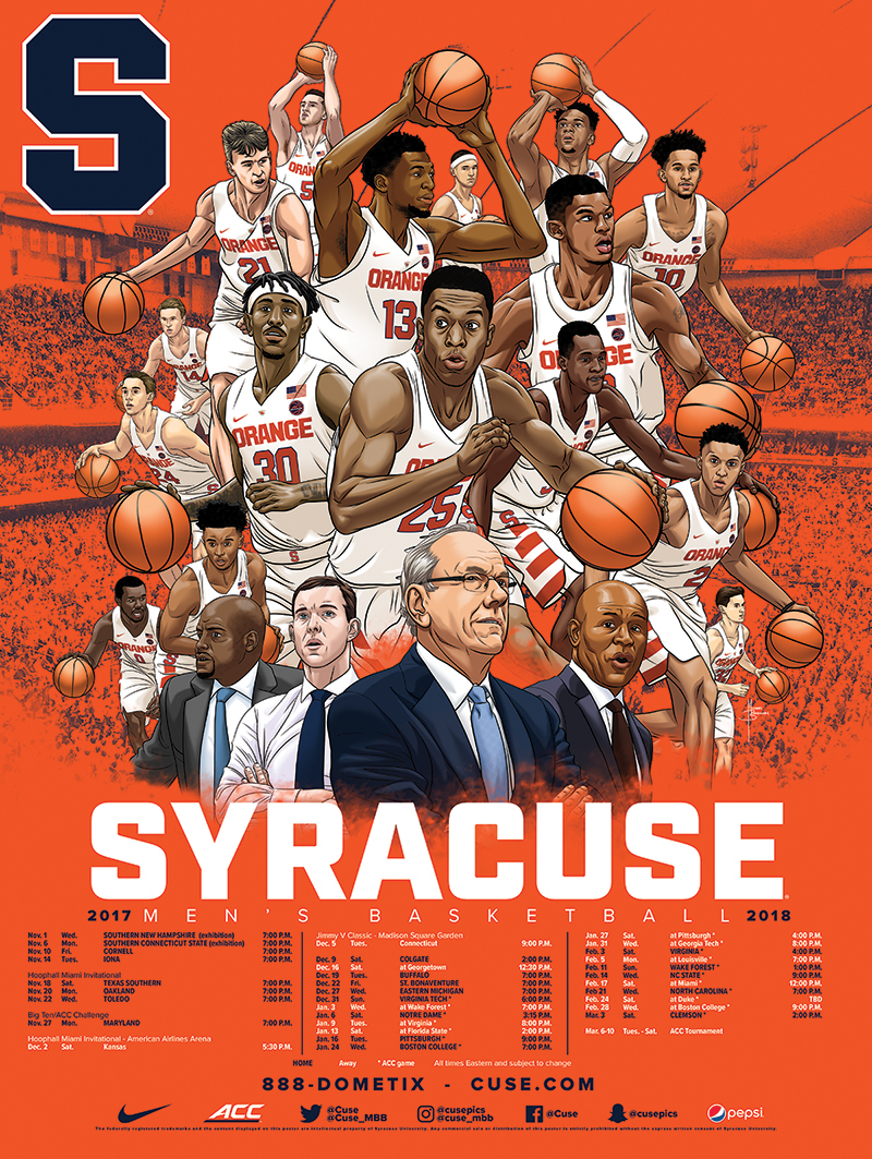 Syracuse Men S Basketball 2017 18 Schedule Poster Art On Behance