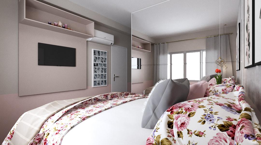 architecture arquitetura de interiores design female room Online project projeto online Quarto quarto feminino room