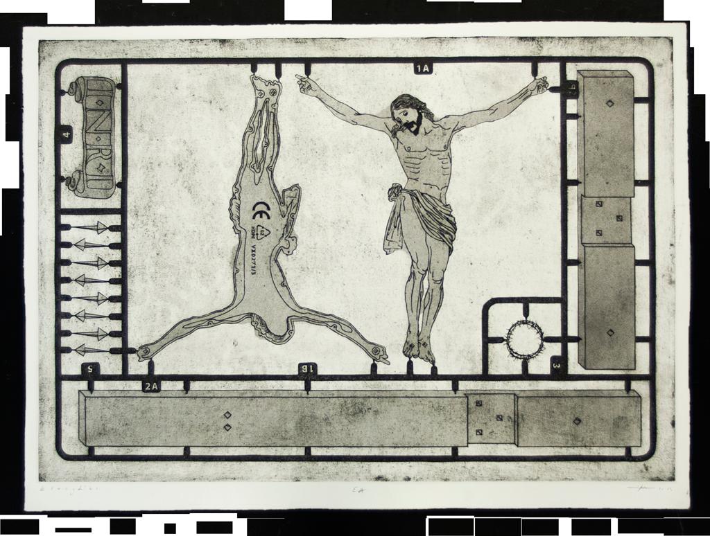 Machowski krucyfiks crucifix graphics workshop intaglio