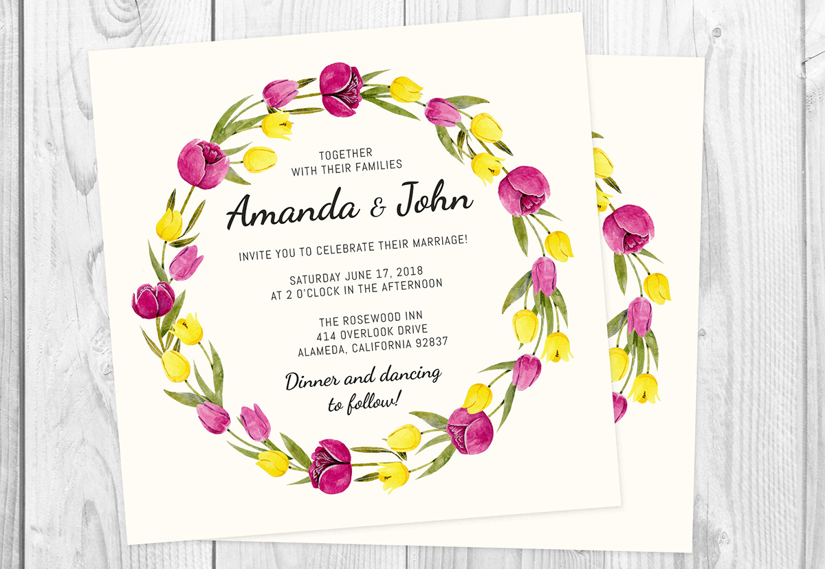 romantic watercolor floral invitations on student show