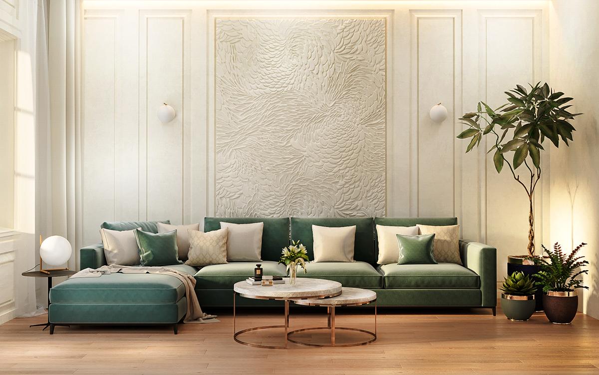 Living room design 3d visualization on behance for Room decor visualizer