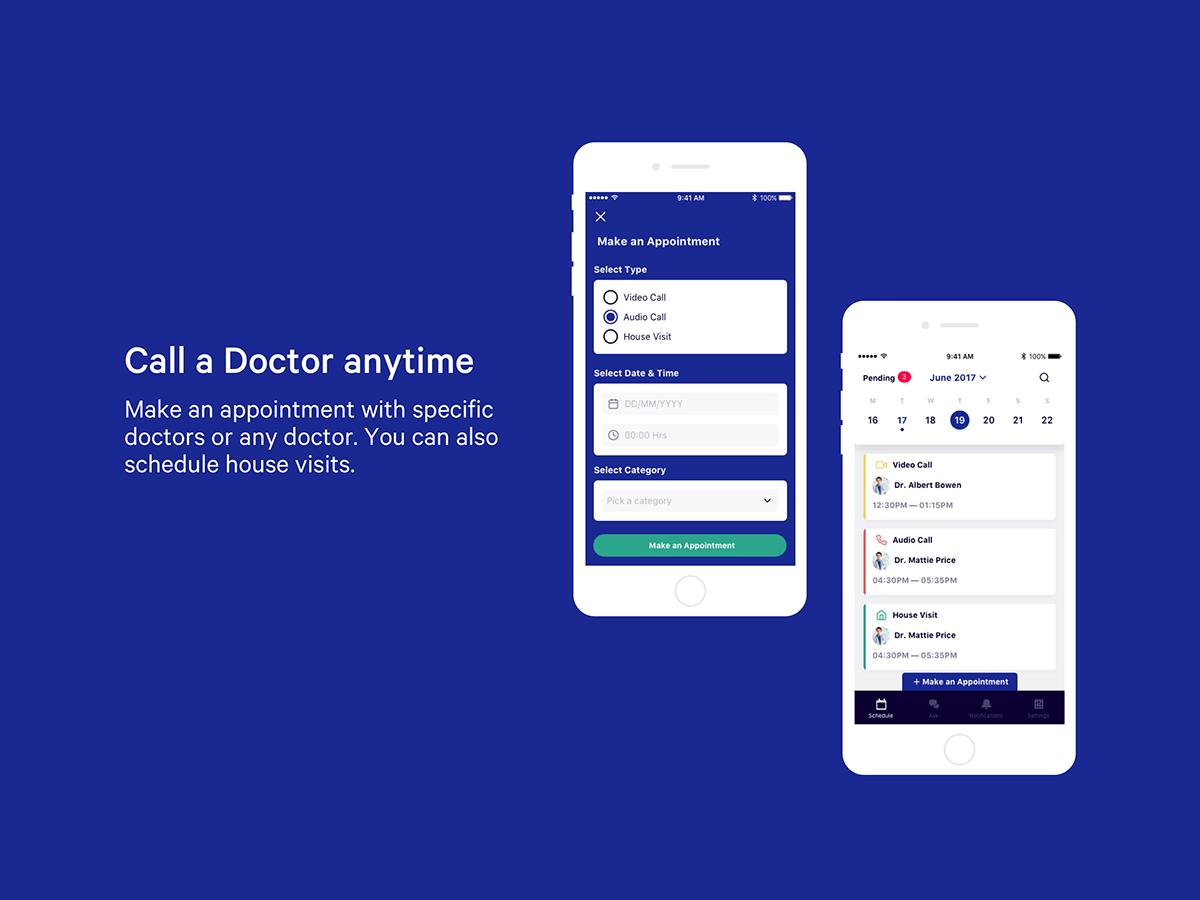 Adobe Portfolio convey medical advice ios app call book Chat