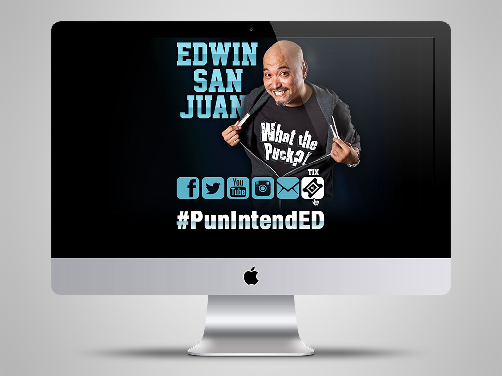 Edwin San Juan comedian Splash page social media Responsive web site