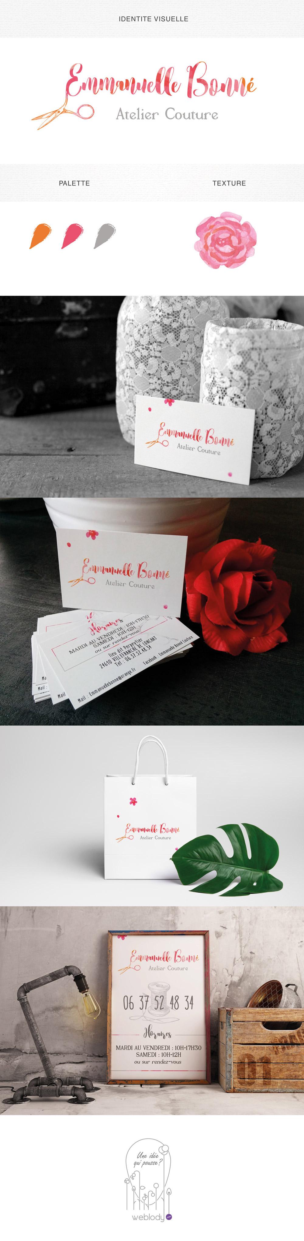 couture,couturiere  ,vintage,rose,orange,logo,carte visite,sac,ciseau,weblody