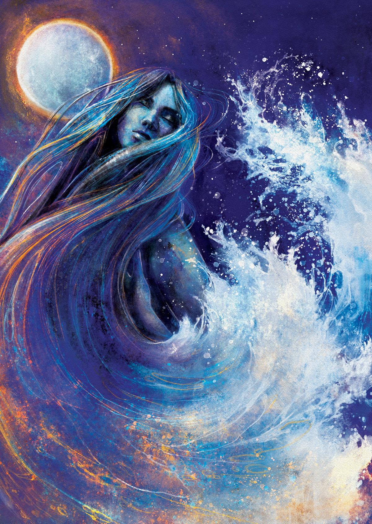 Adobe Photoshop book illustration digital painting fantasy ILLUSTRATION  Love poems romance woman atmosphere emotion metaphor people waves