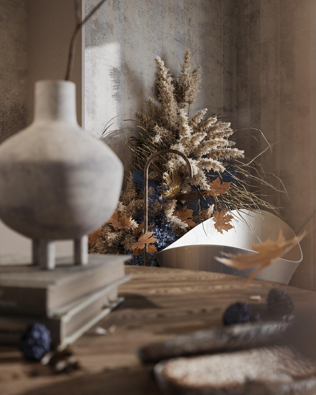 3D architecture autumn bathroom CGI corona design Interior Render still life