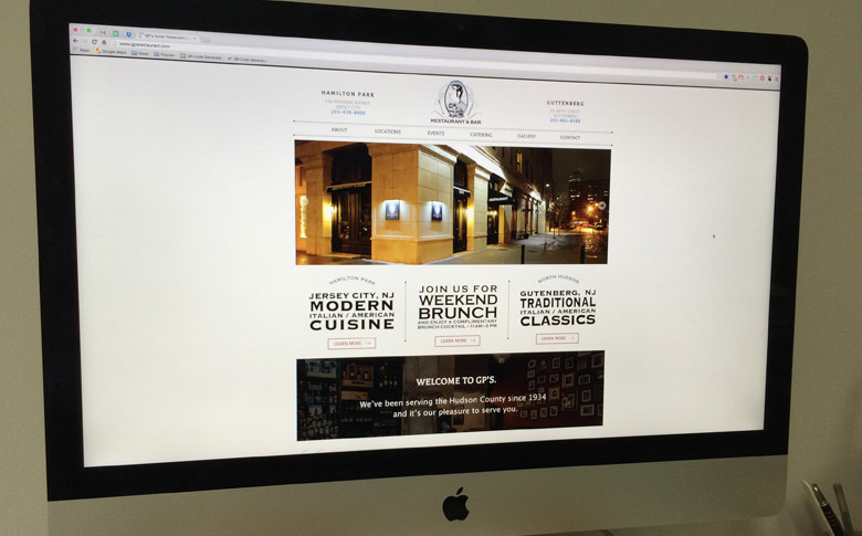 Responsive website design for local restaurant on desktop