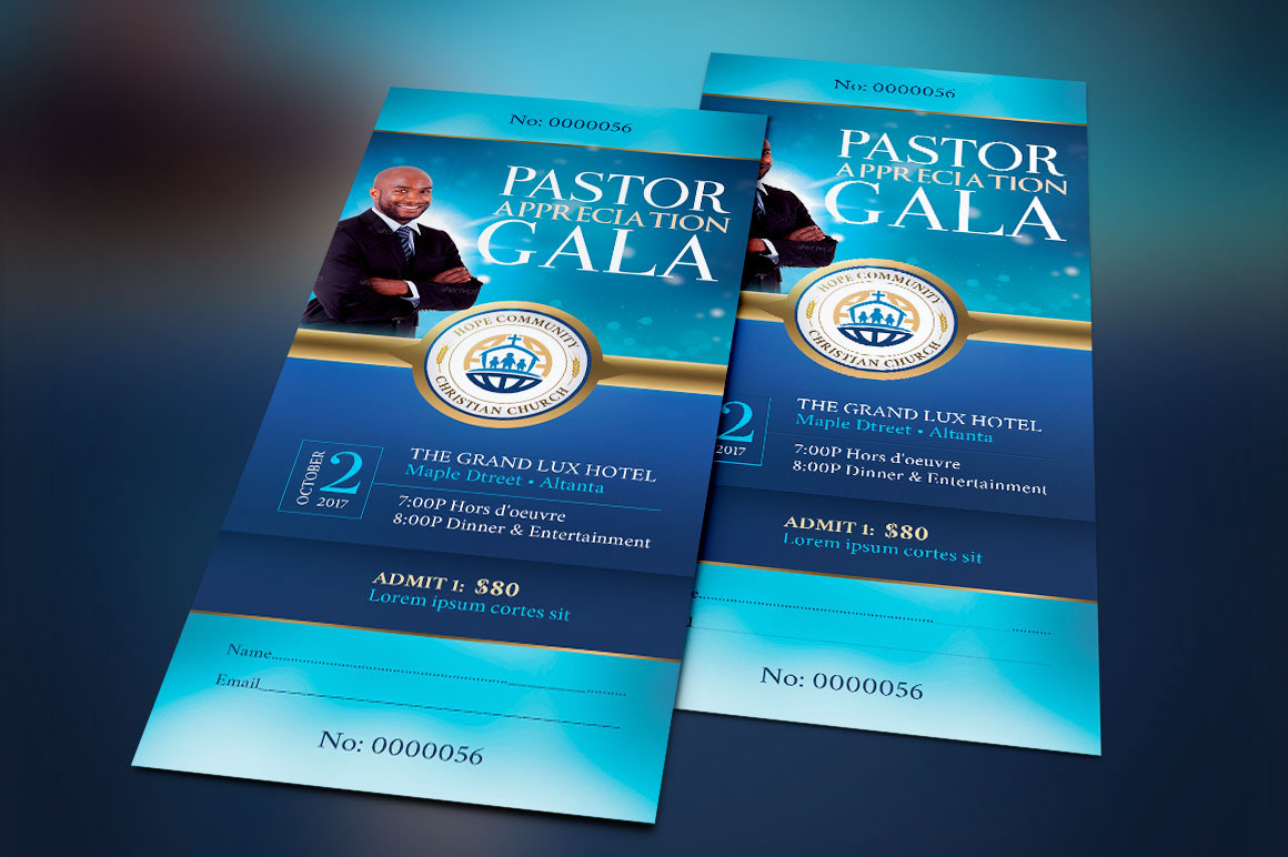 Community Pastor Appreciation Gala Ticket Template Created With Photoshop Is For Church Anniversary Celebration And Events