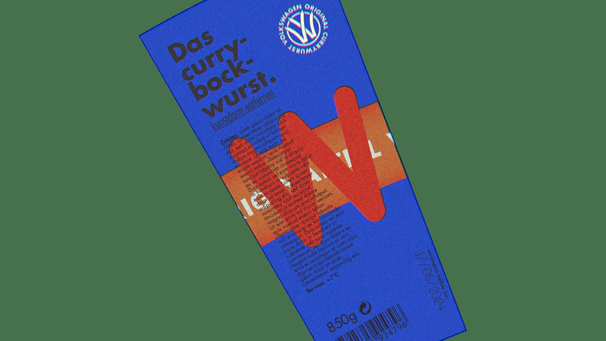 Volkswagen currywurst sausages label design
