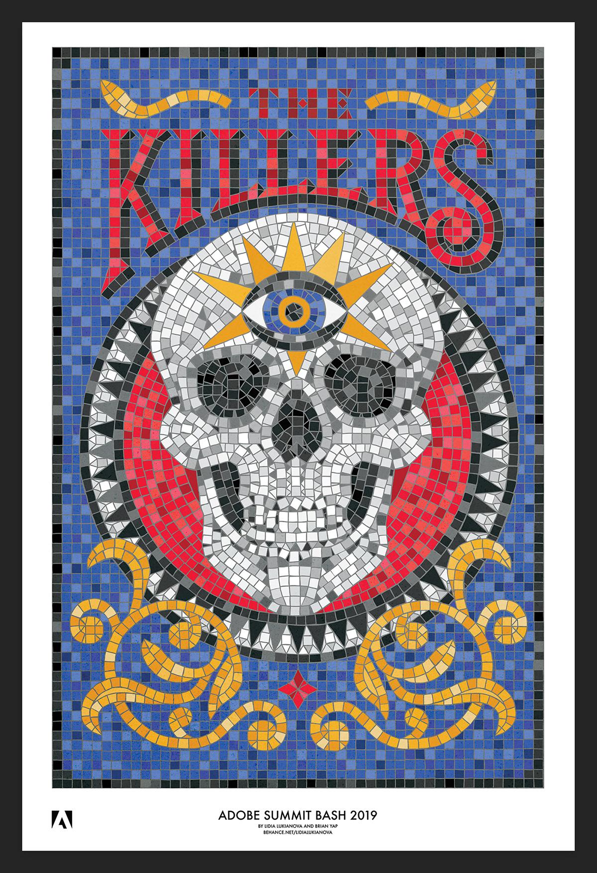 bandposter musicposter skull mosaic mosaicart lettering mosaiclettering poster thekillers ipadart