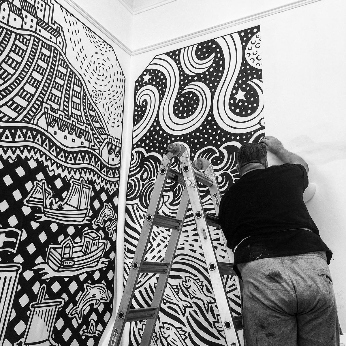 wallpaper Interior pen ink cornwall surface wall studio
