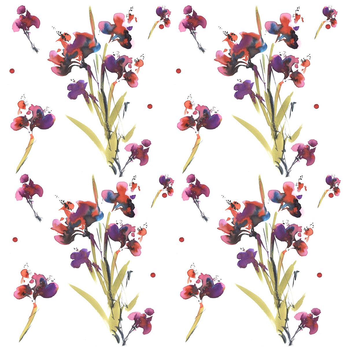 art artist Flowers pattern prints watercolor акварель паттерны принты цветы