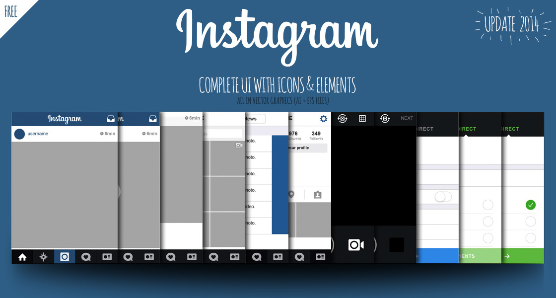 FREE | Instagram UI iOS7 2014 Views + icons + elements on