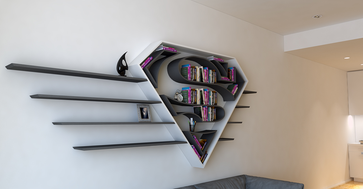 Superman, logo, shelf, interrior, design, bookshelf