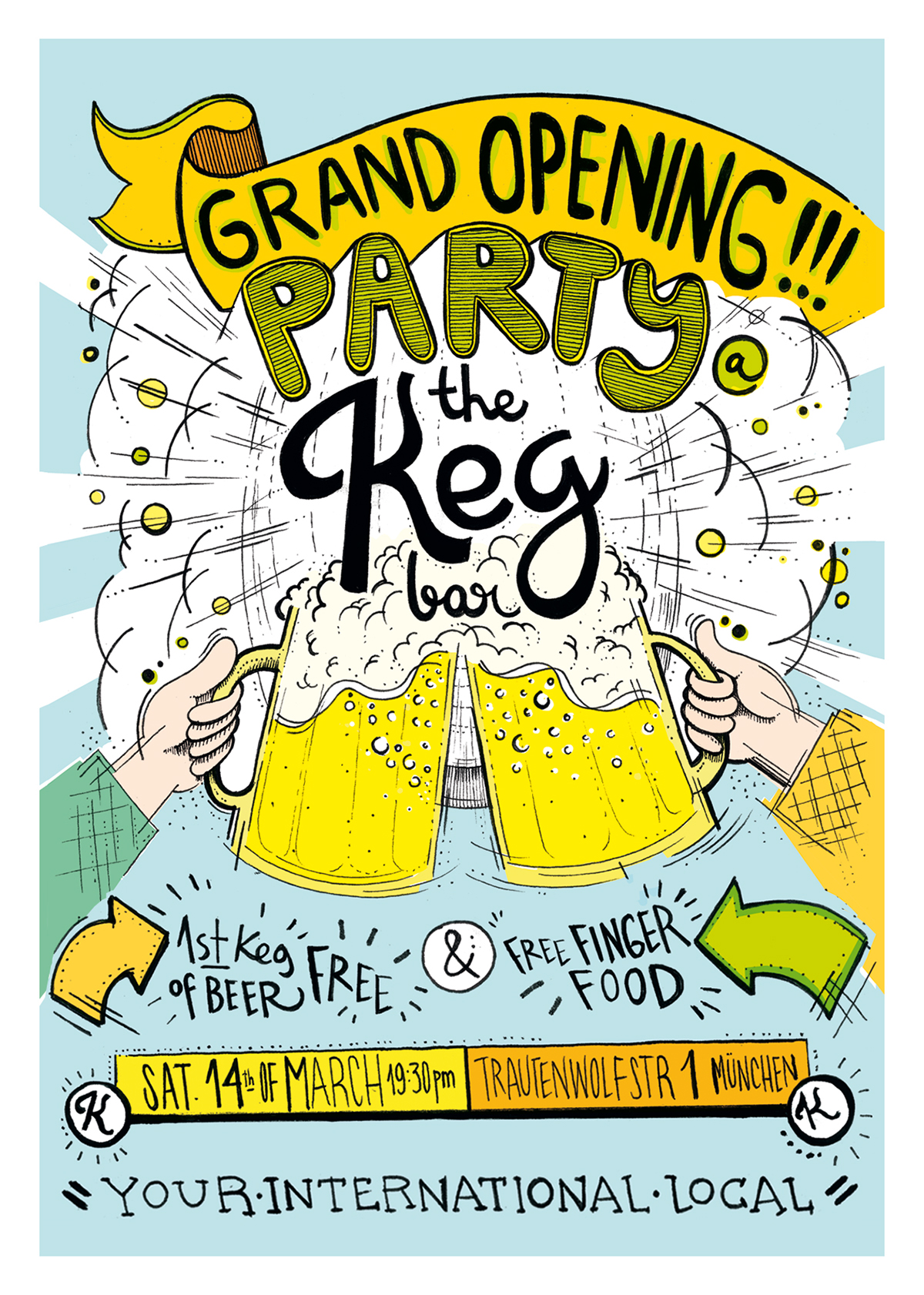 flyer design the keg bar grand opening munich on behance
