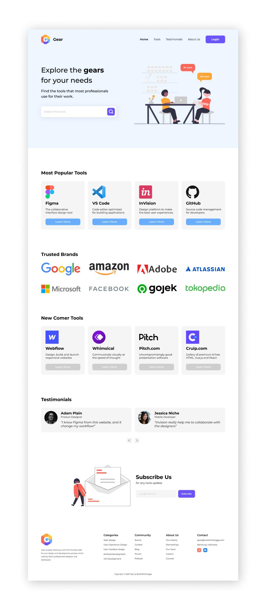 clean landing page minimalist Web Design  Website