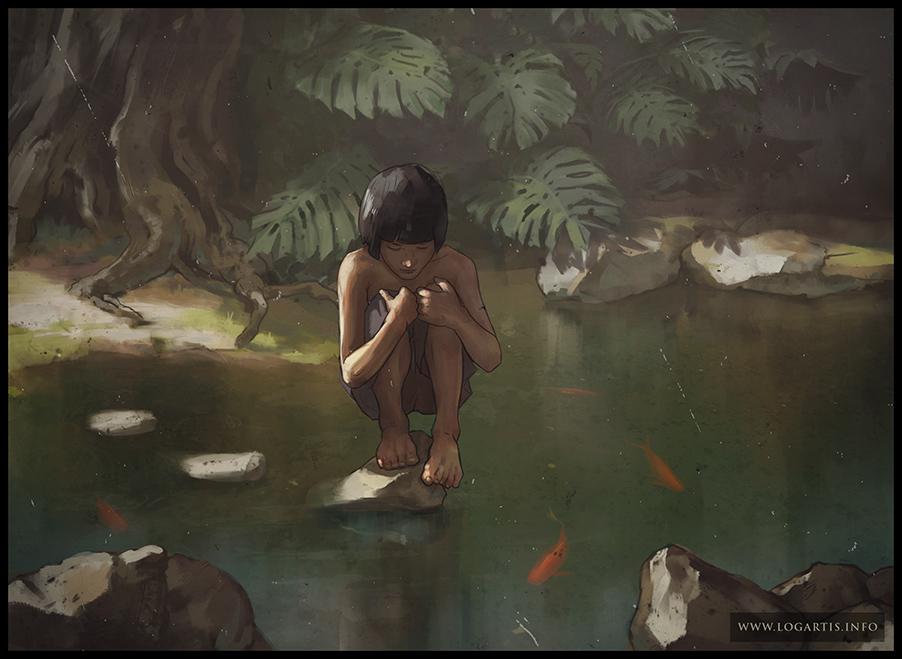 jungle boy Maugli forest pond lake goldfish logartis gergelygizella