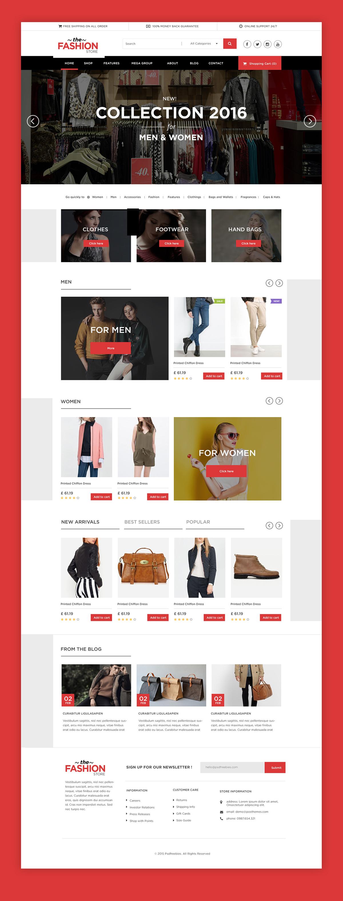 Multipurpose eCommerce Website free PSD Template on Behance