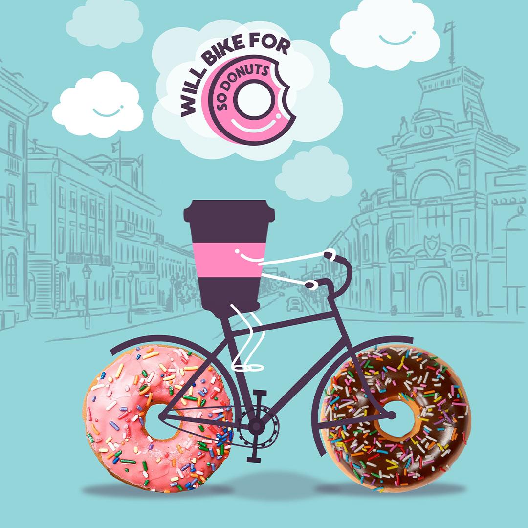 coffee on a bike with doughnuts wells