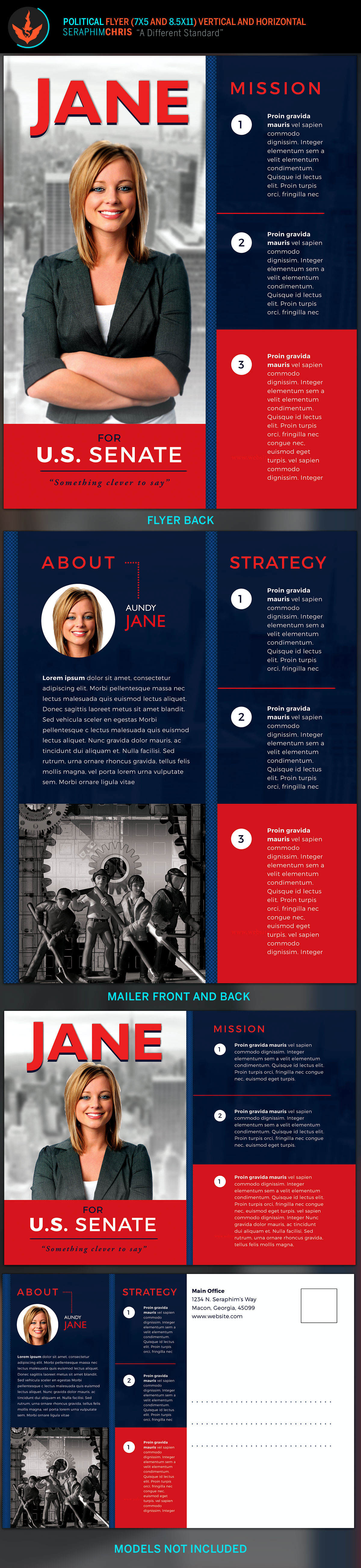 vote jane 5x7 political flyer mailer template on behance