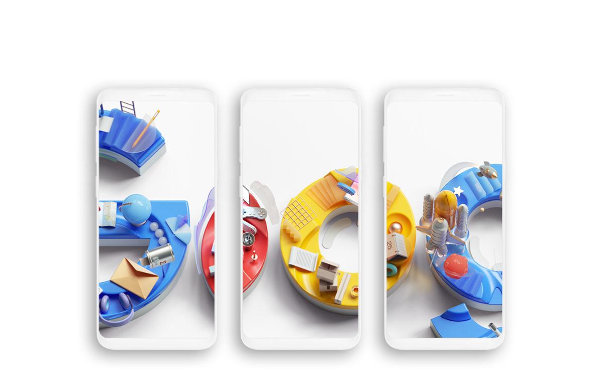 3D graphic design  illustrations cinema4d octane Renders modern typography   branding  google