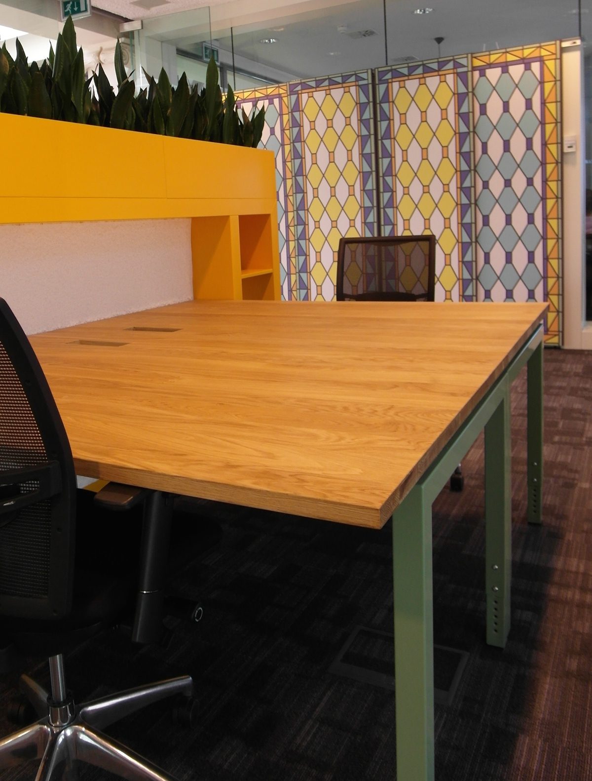 Wortell interior design  Office wallpaper new tables color re use of materials