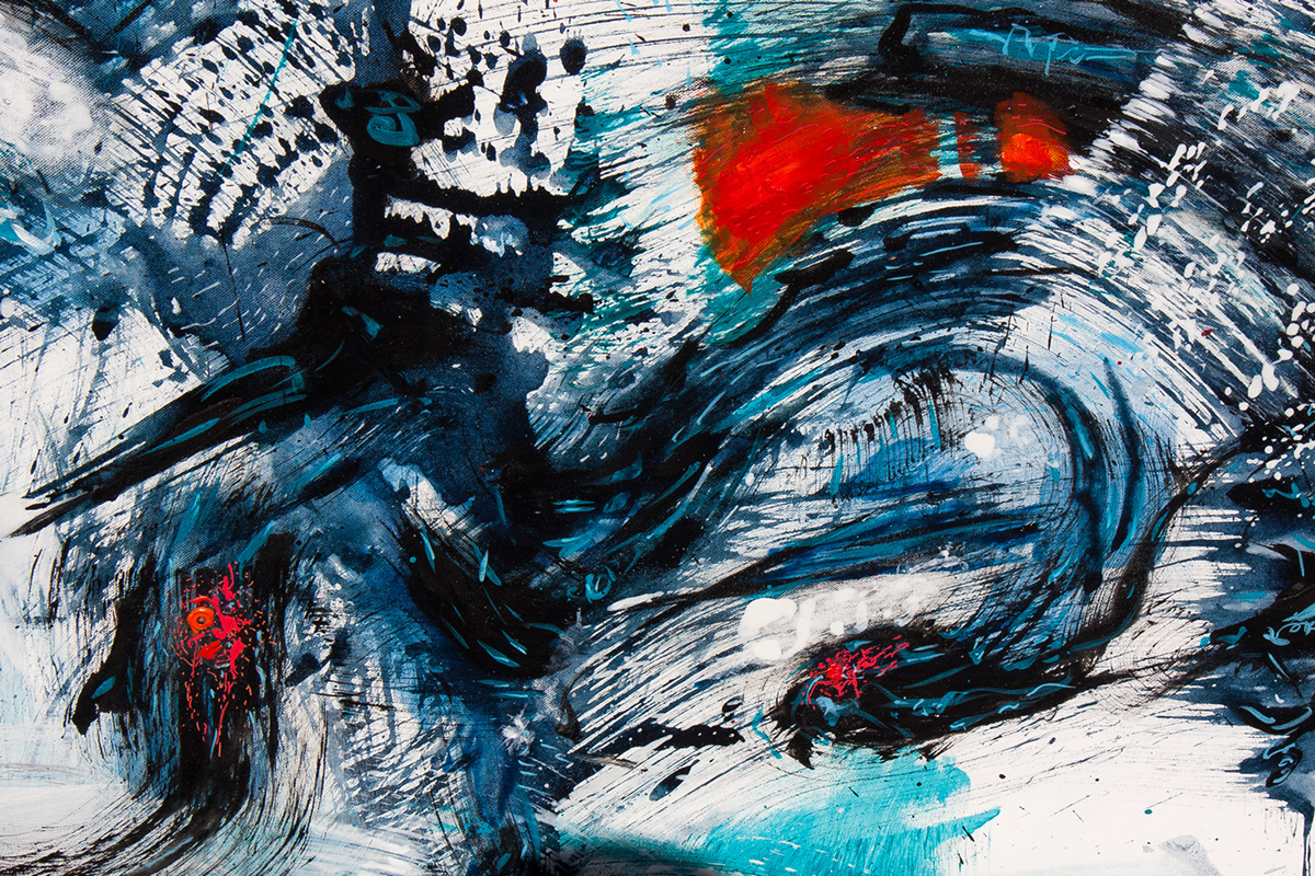 Dynamic with color rough detailed black and white abstract