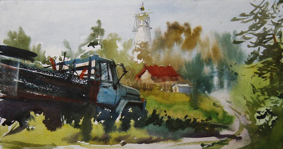 artist green ILLUSTRATION  Landscape Russian province summer watercolor