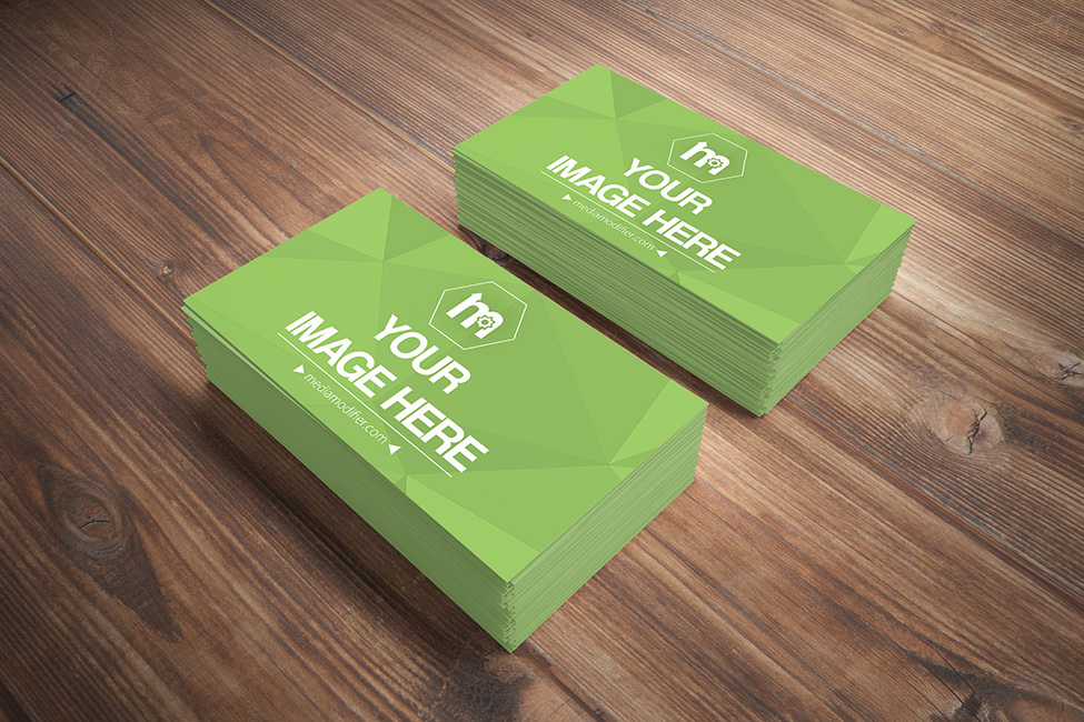2 Stacks Of Business Cards On Wood Table PSD Mockup Behance