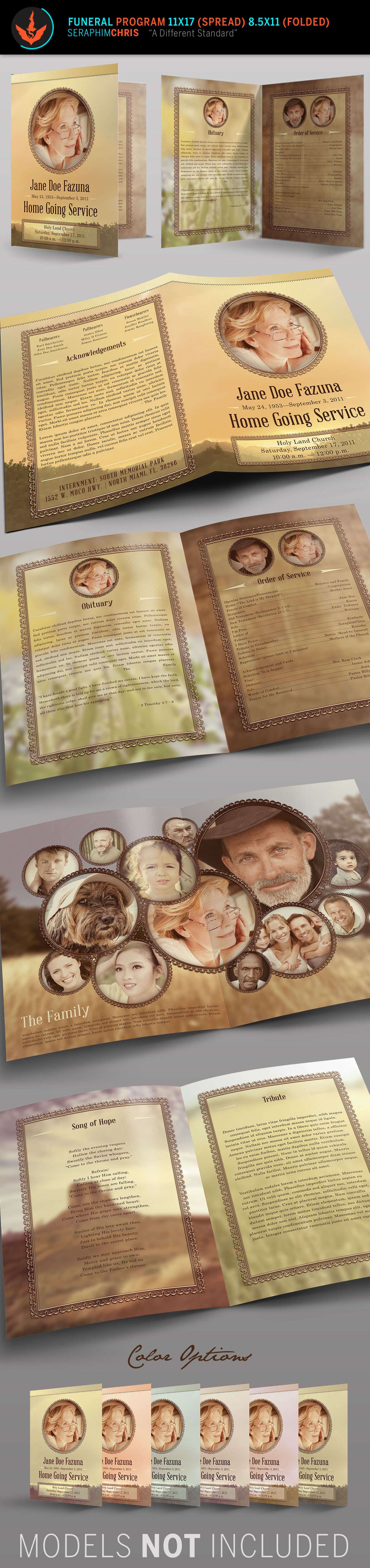 funeral program vintage Memorial honor Booklet contemporary country bulletin Multipurpose heaven spread brochure Legacy obituary tribute