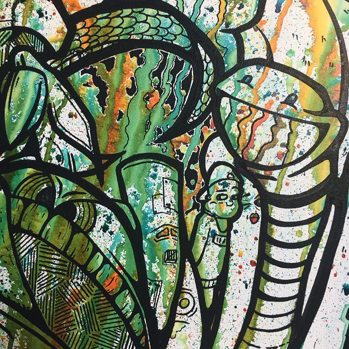 water gun experimental colors drips characters cloud contemporary art