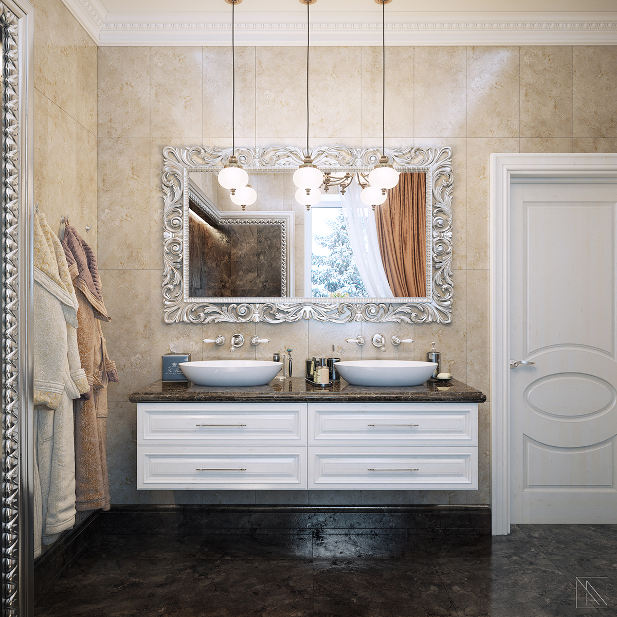 Bathroom in neoclassic style on Behance