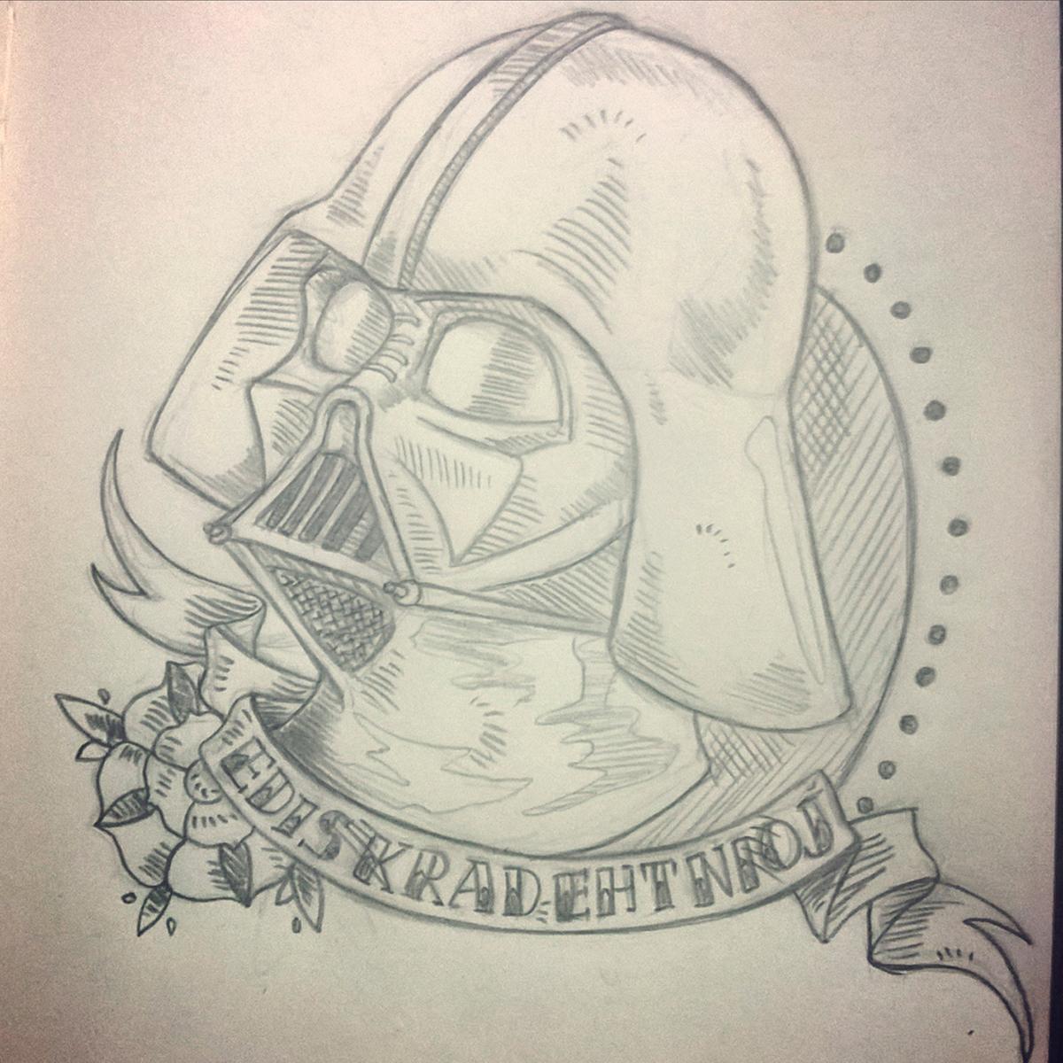 darth vader star wars Fan Art Dark side traditional tattoo idea digital art