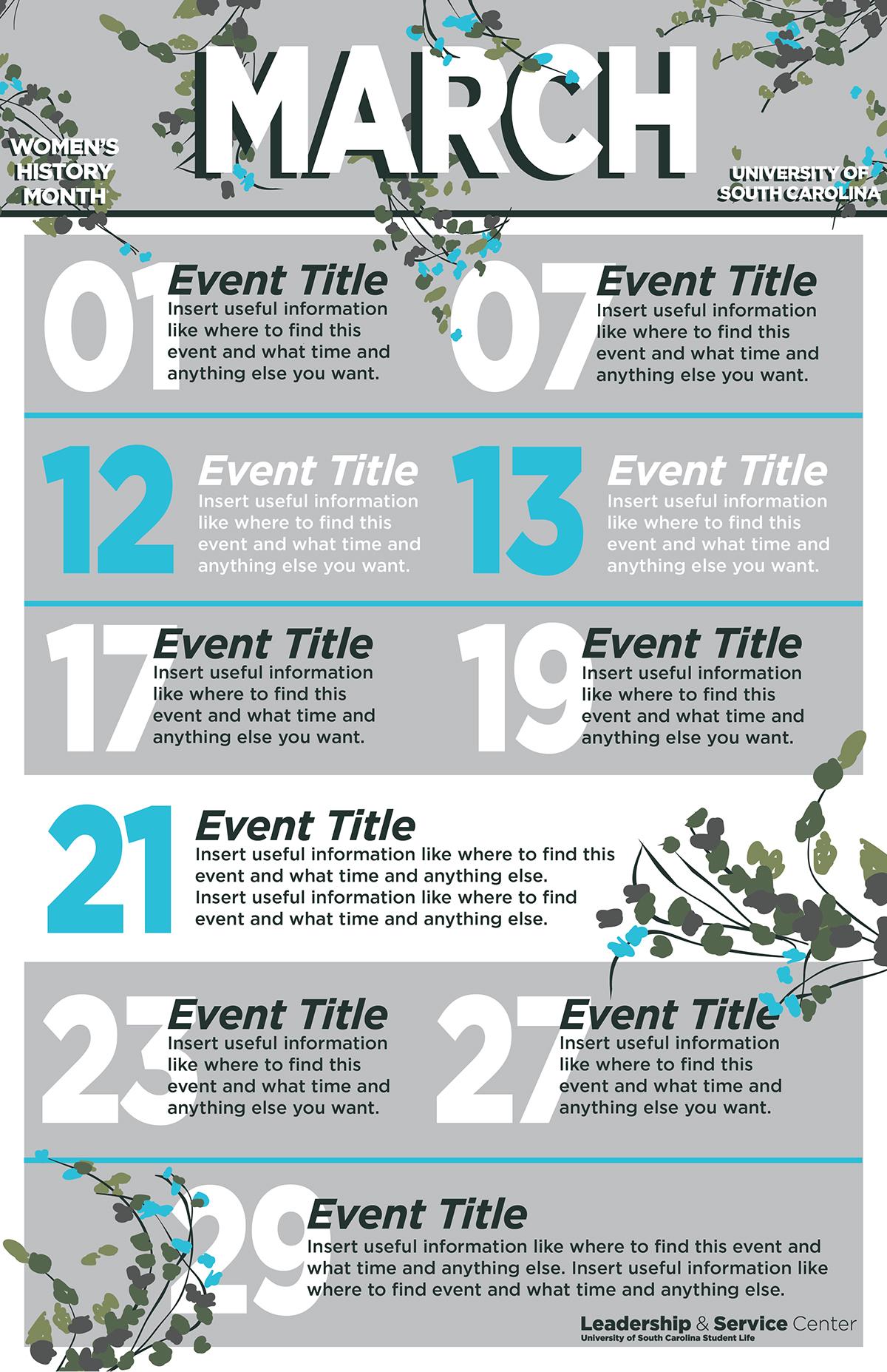 Event Calendar Template | Event Calendar Template On Behance