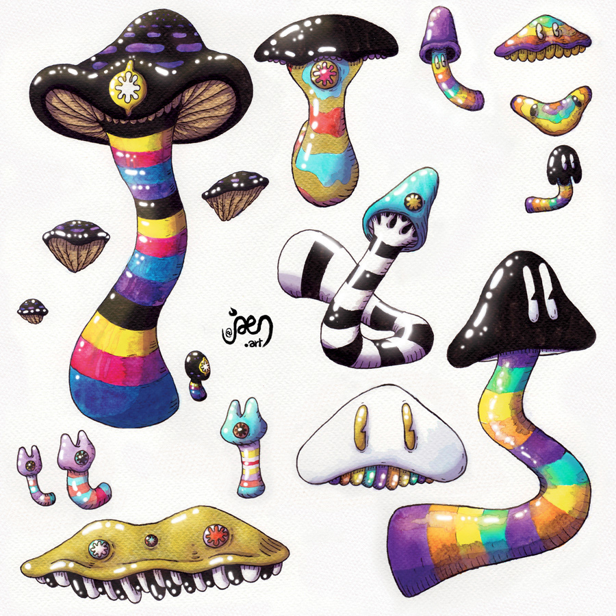 mushroom psychedelic surreal painting   art dreamy colorful voxel 3d printing sculpture