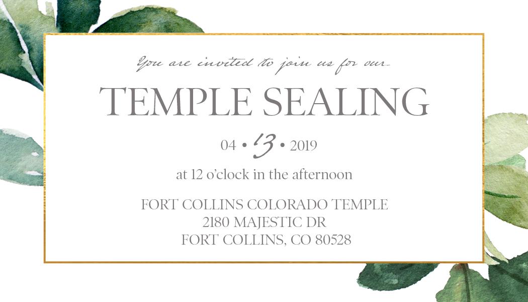 Wedding LDS Sealing Luncheon Invites On Behance