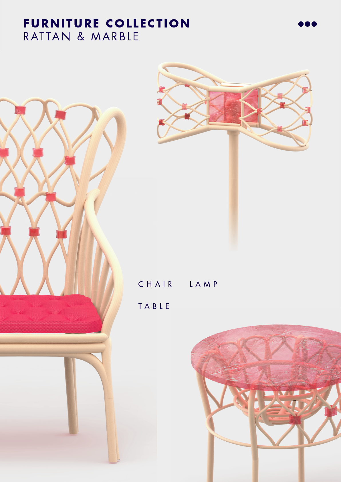 rattan furniture Marble chair table Lamp Render product design  3D design