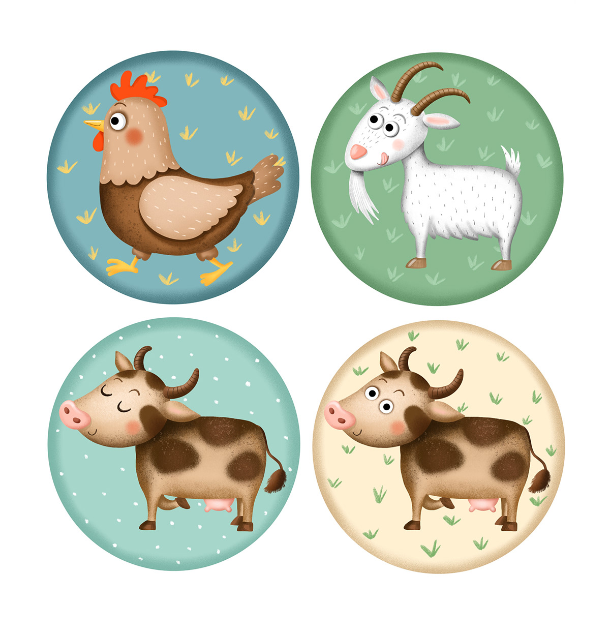 animal bee Character design  children illustration cow cute goat magnet pig fish