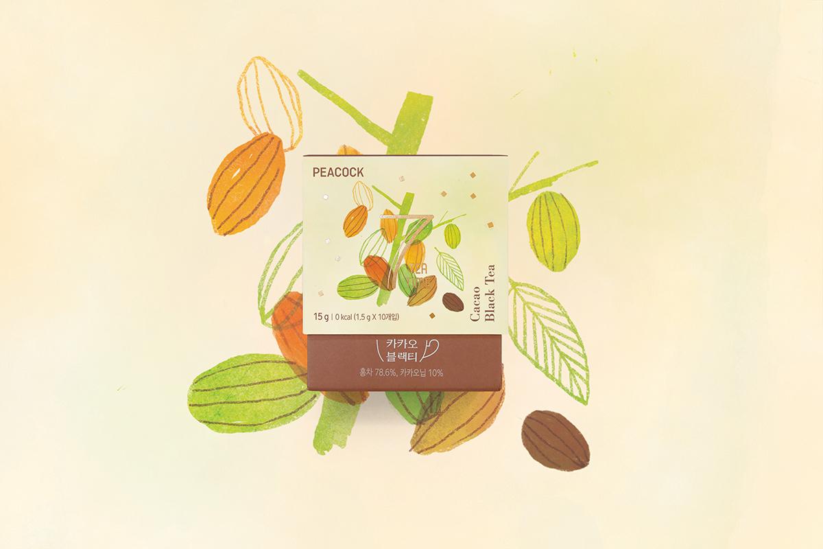 tea Korea package illust Drawing  Food  branding  color