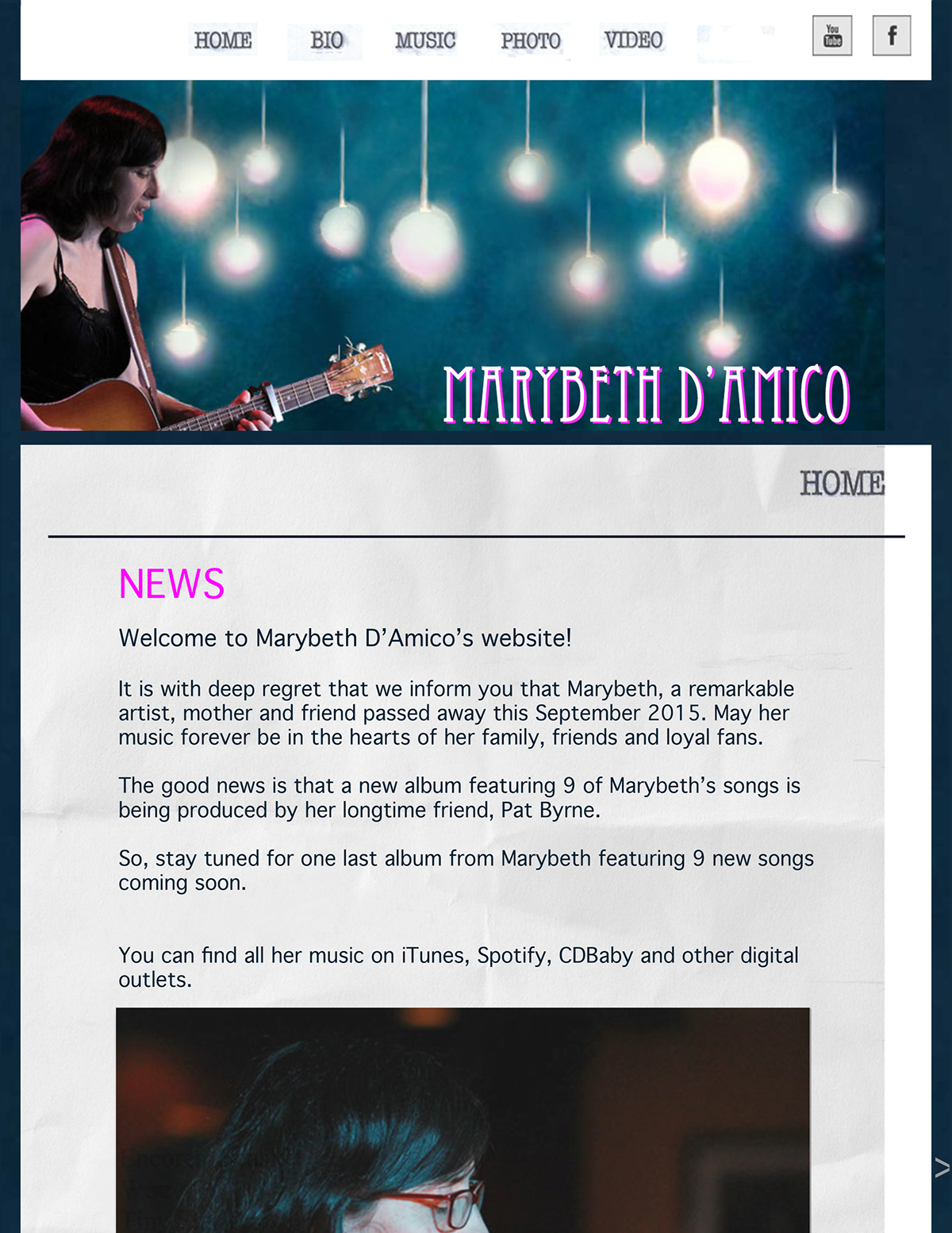 Website for Marybeth D'Amico, musician on Behance